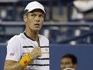 Český tenista Tomáš Berdych se raduje z povedené výměny v osmifinále US Open.