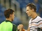 Tomáši Berdychovi k postupu do čtvrtfinále US Open gratuluje Rakušan Dominic...