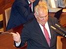 Prezident Miloš Zeman během svého projevu ve sněmovně (2. září 2014)