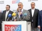 Předseda TOP 09 Karel Schwarzenberg hovoří na oficiálním zahájení předvolební...