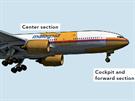 Přehled zatím identifikovaných části trupu letu MH17 (jsou vyznačeny žlutě)....