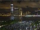 Prodemokratičtí aktivisté protestují v Hongkongu (31. srpna 2014)