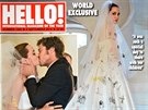 �asopisy Hello! a People se pod�lily o n�klady na fotky ze svatby Angeliny Jolie a Brada Pitta. Jeden je vyd� v Evrop�, druh� v Americe.