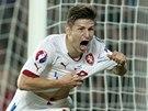 JÁ TO ROZHODL. Václav Pilař slaví vítězný gól proti Nizozemsku.