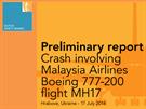 Předběžná zpráva vyšetřování pádu letu MH17