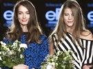 Toto jsou budoucí topmodelky! V česko-slovenském finále letošního ročníku nejprestižnější modelingové soutěže Elite Model Look 2014 vyhrála za Českou republiku Barbora Podzimková (druhá zprava) a Slovenka Barbora Beňová (druhá zleva). Vítězky vyhlásila topmodelka Pavlína Němcová (vlevo) a světová vítězka loňského ročníku Eva Klimková (vpravo).