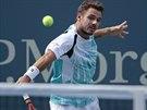 Stan Wawrinka ve čtvrtfinále US Open s Keiem Nišikorim