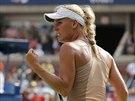Caroline Wozniacká se raduje během semifinále US Open