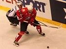 Momentka z utkání hokejové Ligy mistrů mezi Pardubicemi (červená) a TPS Turku
