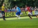 Momentka ze zápasu domácího poháru mezi divizními Živanicemi (modrá) a Spartou