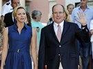 Monacký kníže Albert II. a jeho manželka Charlene (Monako, 1. září 2014)