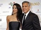 Amal Alamuddinová a George Clooney (Florencie, 7. září 2014)