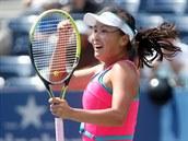 Čínská tenistka Pcheng Šuaj se raduje z postupu do semifinále US Open.