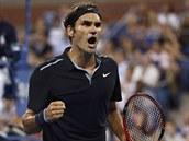 Švýcarský tenista Roger Federer se raduje ve čtvrtfinále US Open.