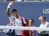 Srbský tenista Novak Djokovič se loučí po prohraném semifinále US Open.