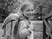 Vendulka - velká �kola�ka. Vendulka a její první foto s aktovkou.