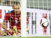 Český obránce Michal Kadlec po inkasovaném gólu v utkání se Spojenými státy.