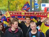 Pochod českobudějovických hokejových fanoušků před první zápasem nové sezony.