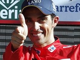 �pan�lsk� cyklista Alberto Contador vl�dne pr�b�n�mu po�ad� Vuelty.