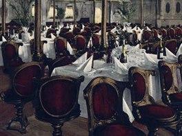 Jídelna první třídy na lodi Kaiser Wilhelm der Grosse na pohlednici zřejmě z...
