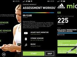 Základní obrazovky pro nastavení a přehled v mobilní aplikaci Adidas Micoach.