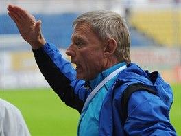 Teplický trenér Zdeněk Ščasný (vpravo) slaví gól svého týmu