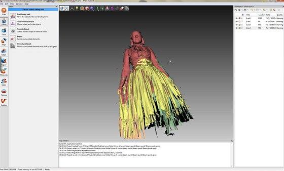 Složení a úpravy 3D modelu probíhají v aplikaci Artec Studio dodávané se...