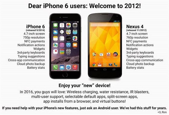 Srovnání iPhone 6 a Nexusu 4