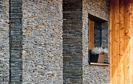 Moderní systém k obkládání stěn či fasád. Obklad z přírodního kamene (břidlice,