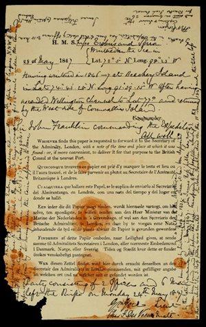 Zpráva (resp. dvě zprávy na stejném papíru) zanechaná Franklinovou expedicí na...