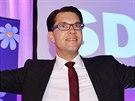 Šéf populistické strany Švédští demokraté slaví volební úspěch (14. září 2014)
