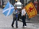 Stoupenci samostatného Skotska v Edinburghu (19. září 2014)