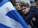 Zklaman� stoupenci skotsk� nez�vislosti v Edinburghu (19. z��� 2014)