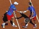 PLÁCNI SI. Čeští tenisté Tomáš Berdych (vlevo) a Radek Štěpánek se radují ve...