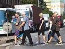 Protestní blokáda dopravy na kruhové křižovatce u Slávie v Náchodě měla...