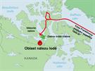 MAPA: Oblast nálezu jedné z lodí Franklinovy expedice