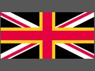 Britská vlajka nahrazený skotský kříž waleským