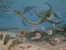Rekonstrukce plesiosaura a �ivota na dn� svrchnok��dov�ho mo�e. Malbu zpracoval...
