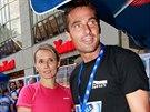 Roman Šebrle s manželkou na běžecké soutěži (6. září 2014)