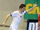 Michal Belej slaví gól v utkání české futsalové reprezentace proti Madarsku.