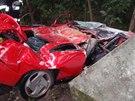 Řidič na Olomoucku narazil do takzvaných božích muk a ta vzápětí na vůz spadla....