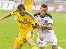 Momentka z ligového utkání mezi Jihlavou (žlutá) a Hradcem Králové