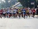 Hrabovský p�lmaratón, který byl oragnizován spole�n� s atletickým dopolednem 6.9.2014 v Ostrav� Hrabové.