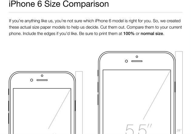 Papírový model nových iPhon� slou�í k porovnání jejich rozm�r�