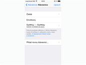iOS 8 - novinkou je mo�nost pou��vat kl�vesnice t�et�ch stran.
