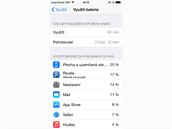 iOS 8 - přehled využití baterie.