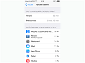 iOS 8 - p�ehled vyu�it� baterie.