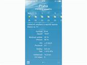 iOS 8 - aplikace Počasí nyní zobrazuje spoustu informací.