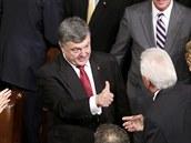 Ukrajinský prezident Petro Porošenko v americkém Kongresu (18. září 2014)