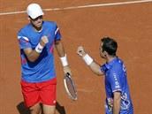 Čeští tenisté Tomáš Berdych (vlevo) a Radek Štěpánek se radují z vyhraného prvního setu ve čtyřhře proti Francii.